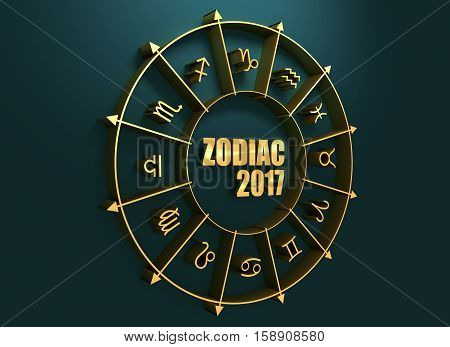 Astrological symbols in the circle. Golden emblem. Metallic material. Zodiac text and 2017 numbers. 3d rendering
