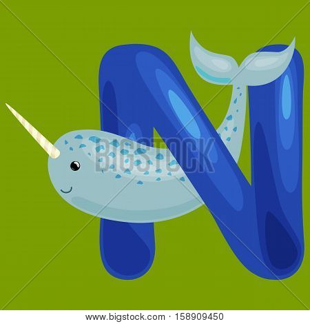 narwhal animal and letter N for kids abc education in preschool.Cute animals letters english alphabet. Cartoon animals alphabet for learning letters vector illustration. Single letter with wild animal narwhal