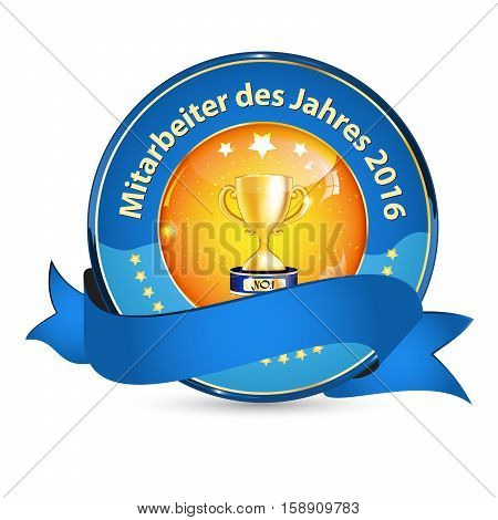 Employee of the Year 2016 in German language (Mitarbeiter des Jahres 2016) - shiny golden blue award ribbon
