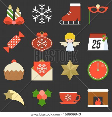 Christmas icon, ornaments and decoration, flat design with long shadow
