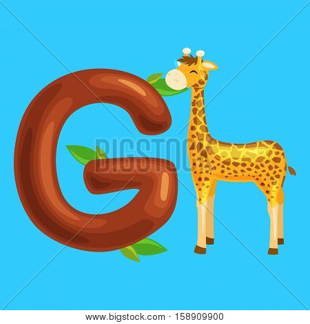 animal giraffe and letter for kids abc education in preschool.Cute animals letters english alphabet. Cartoon animals alphabet for learning letters vector illustration. Single letter with wild animal giraffe