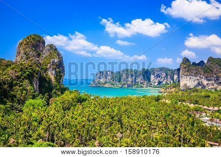 Thailand Krabi. View from the cliff on Railay beach Ao Nang.