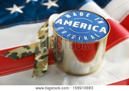 Canned food on American flag. Made in America