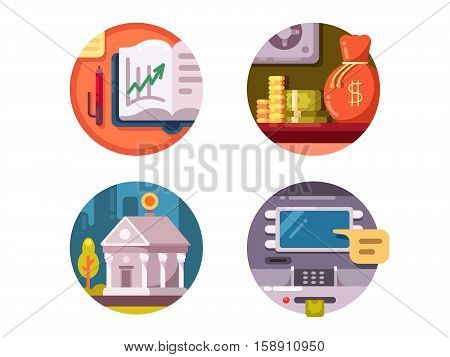 Financial institution money. Bank and ATM for issuance of banknotes. Vector illustration