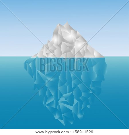Polygonal iceberg in the sea. Low poly design. Polygon background. Grey and blue iceberg up and under the water