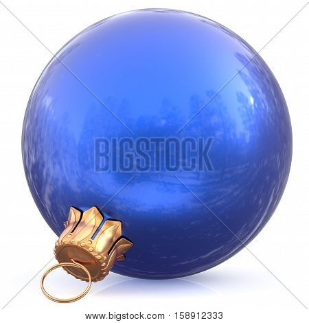 Christmas ball blue hanging decoration New Year's Eve bauble wintertime adornment souvenir. Traditional ornament happy winter holidays Happy Merry Xmas symbol blank shiny classic. 3d illustration
