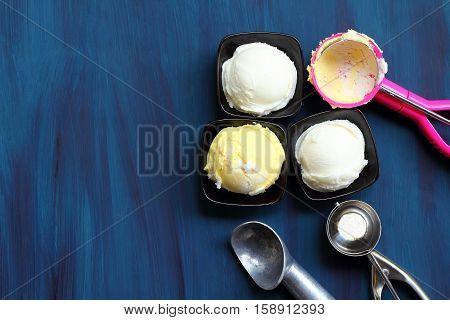 Ice cream durain and coconut is sweet foodthis picture is high angle shots or bird's eye view.