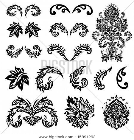 Set of vector decorative ornaments. Easy to edit. Perfect for any ornate designs.