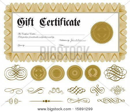 Vector ornate certificate frame and ornaments. Easy to edit. Perfect for gift certificates or announcements.