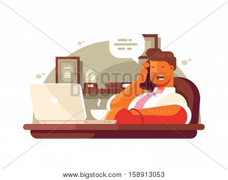 General manager talking on phone sitting in chair and drinking coffee. Vector illustration