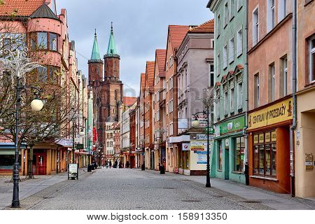 Legnica, Poland: November 27, 2016: Promenade of Legnica. It is one of the oldest cities in southwestern Poland central part of Lower Silesia. Poland