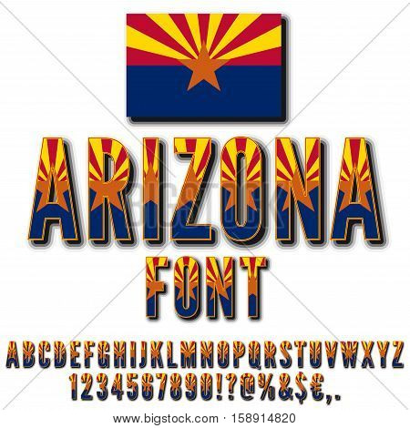Arizona USA state flag font. Alphabet, numbers and symbols stylized by state flag. Vector typeset