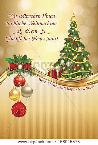 German elegant greeting card:  We wish you Merry Christmas and Happy New Year: Wir wunschen Ihnen Frohe Weihnachten und ein Gluckliches Neues Jahr, for winter holiday. Print colors used. Custom size