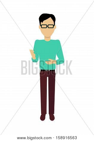 Male character without face in turquoise sweater vector in flat design. Man template personage figure illustration for concepts, mobile app pictogram, logos, infographic. Isolated on white background.