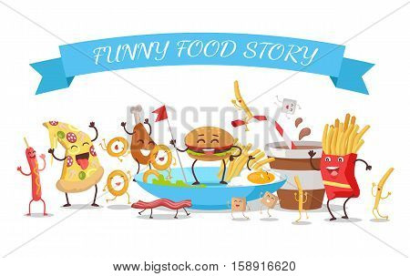 Funny food story conceptual banner. Sausage pizza donut bacon chicken hamburger fries sugar soda potatoes eggs. Happy meal for children. For childish menu poster. Vector design illustration
