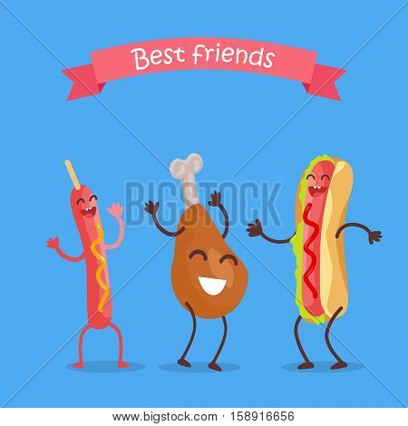 Best friends fast food products concept vector. Flat design. For restaurants menu, diet concepts, web design. Smiling and dancing cartons of sausage, chicken thigh, hod dog. Tasty street snacks