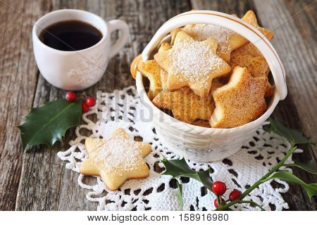 Homemade Christmas cookies and cup of coffee