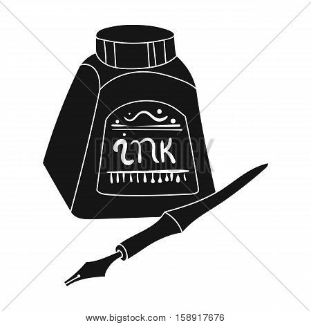 Dip pen with inkwell icon in black style isolated on white background. Artist and drawing symbol vector illustration.
