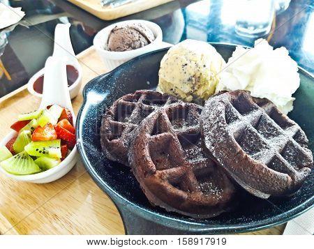 Closeup of Ice cream and waffle dessert