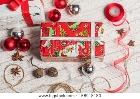 preparing gifts for the new year on white background