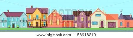 Real estate conceptual vector in flat design. Line of color cottage houses. Suburbs. Buying a new place for living. Illustration for real estate company advertising, housing concepts.