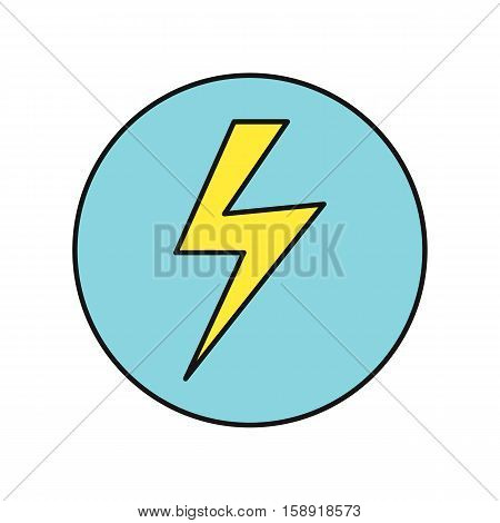 Lightning icon vector illustration in flat style design. Lightning sign in blue circle. Charging, electricity, speed, energy, weather concepual pictogram. Isolated on white background.