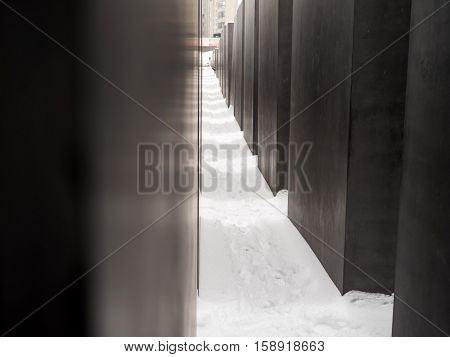The Holocaust Monument In Berlin With Snow