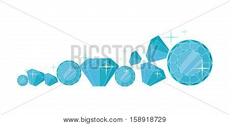 Diamonds vector. Flat design. Precious gift. Sparkling jewelry, precious stones, gems and brilliants in different sizes. Illustration for jewelry store advertising. Isolated on white background