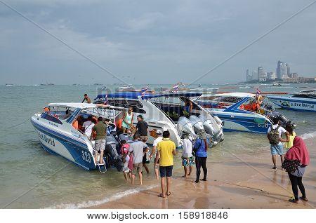 Speed Boat Parking On Pattaya Bay