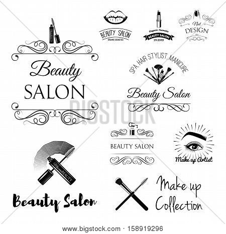 Beauty Salon Design Elements in Vintage Style. Lipstick, mascara, lips, manicure, women eyes, make up brushes, nail and finger. Filigree frame Vector illustration