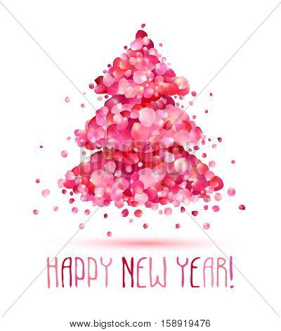 Happy New Year Congratulation Card. Christmas Tree Of Pink Rose Petals