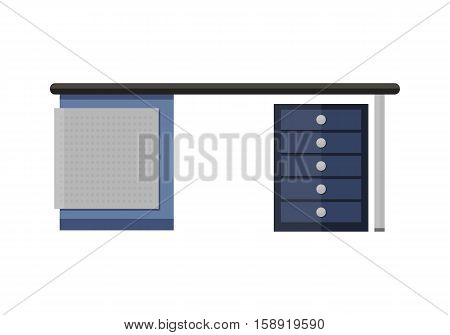 Blue empty computer desk in flat. Office empty desk for office equipment. Computer desk icon. Workstation desk. Interior office element. Isolated object on white background. Vector illustration.