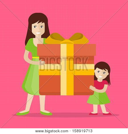 Giving present. Smiling woman and small girl standing with gift box decorated ribbon, bow flat vector illustration isolated on pink background. Birthday, valentine, christmas, father s day celebrating