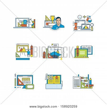 Creativity, graphic design, education and scientific research, distance learning, curriculum, scientific disciplines icons set over white background. Flat line icons for infographics design elements.