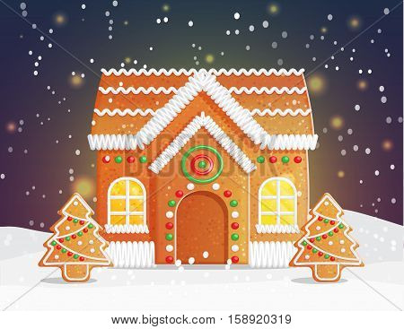 Gingerbread house Christmas night scene backgound, snowy night with stars and traditional gingerbread building with cozy light and festive ornament treess.