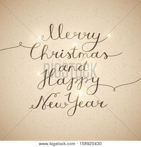 merry christmas and happy new year, vector lettering, handwritten text on old paper