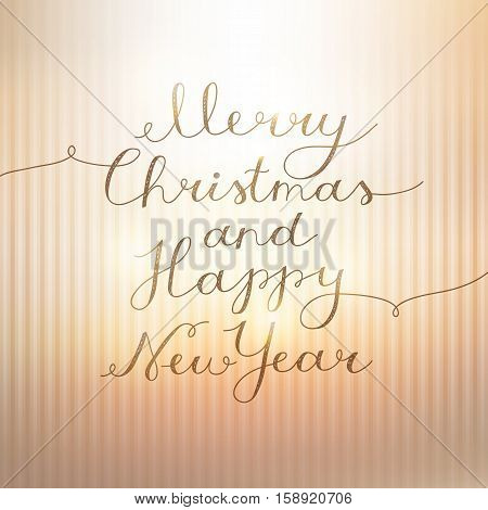 merry christmas and happy new year, vector lettering, handwritten text on striped gold background