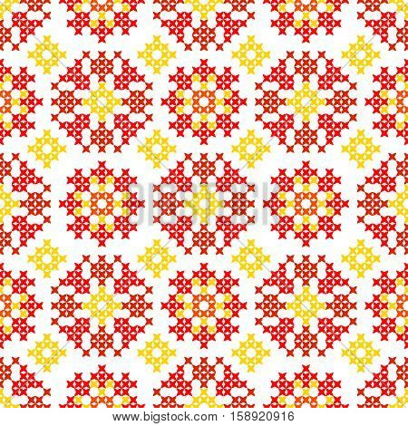 Seamless embroidered texture of abstract flat patterns, tulips, cross-stitch, ornament for cloth