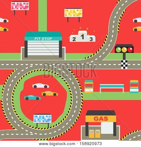 Seamless sport car racing track play mat for children activity and entertainment. Racing competition championship facilities, endless road, stadium environment.