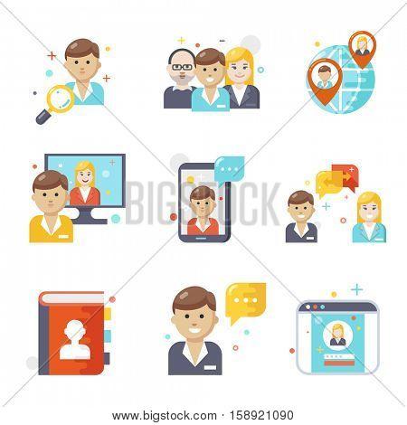 Social media icons, flat design