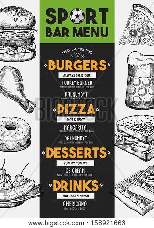 Sport bar menu placemat food restaurant brochure template design. Vintage creative dinner flyer with hand-drawn graphic.