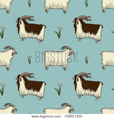 pattern with two cute goats and milfoil