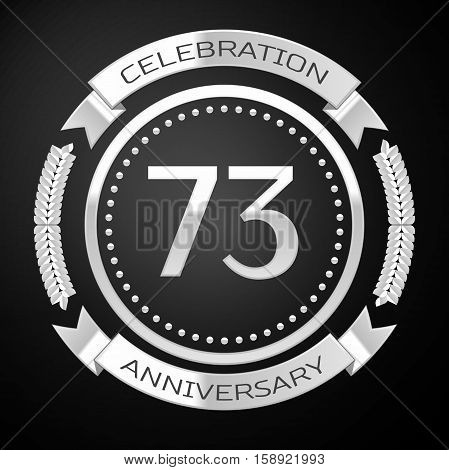 Seventy three years anniversary celebration with silver ring and ribbon on black background. Vector illustration