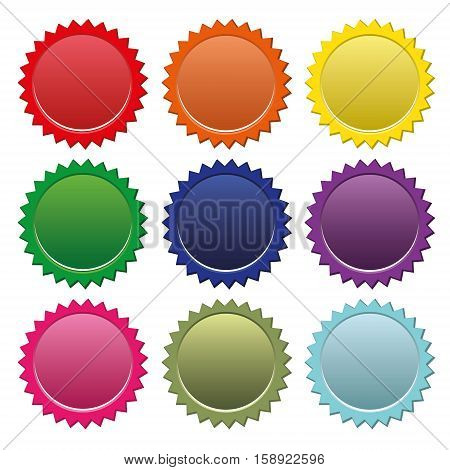 Colorful star buttons isolated on white background