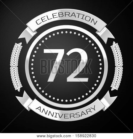 Seventy two years anniversary celebration with silver ring and ribbon on black background. Vector illustration