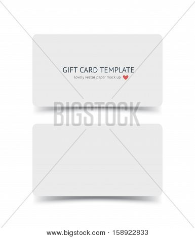 Business card template mock up with round corners and shadow isolated on white background. Realestic vector paper cards for portfolio presentation, business identity, web banner