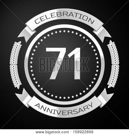 Seventy one years anniversary celebration with silver ring and ribbon on black background. Vector illustration