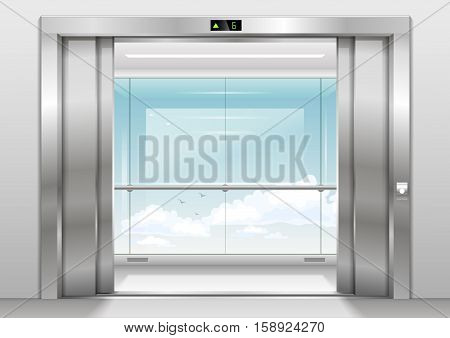Open Doors panoramic elevator with a glass wall or window. Vector graphics. Glass transparency effect