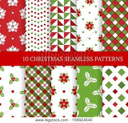 Ten Christmas different seamless patterns. Xmas endless texture for wallpaper web page background wrapping paper and etc. Retro style. Square circle christmas holly leaves and berries poinsettia