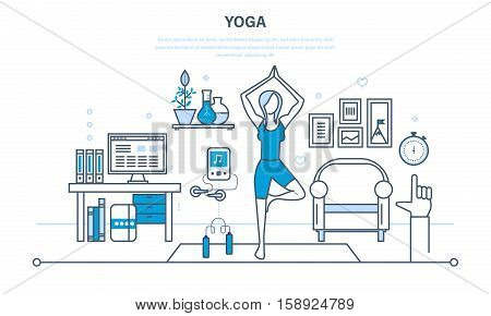 Interior of the room, furniture for relaxing, quiet atmosphere. Girl at home, standing in a pose on the carpet, practices yoga. Illustration thin line design of vector doodles, infographics elements.